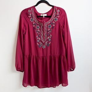 Poema Sheer Bohemian Long Sleeve Tunic Dress / Top